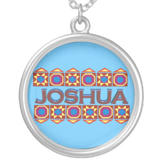Joshua Abstract art southwestern over light blue Round Pendant Necklace