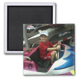 Joshua at the Amusement Park 2 Inch Square Magnet
