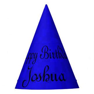 Joshua, Happy Birthday Blue Birthday Cap. Party Hat