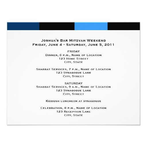 Joshua Isaac Bar Mitzvah Weekend Schedule Card Personalized Invitation