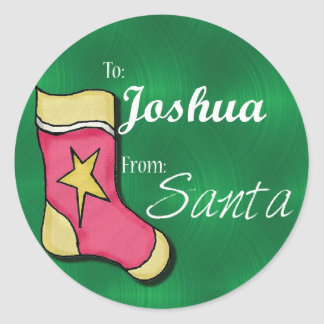 Joshua Personalized Christmas Label77 Classic Round Sticker