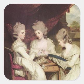 Joshua Reynolds las señoras Waldegrave Pegatina Cuadrada