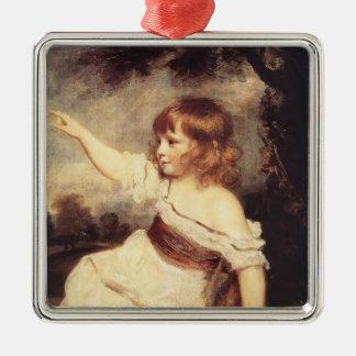 Joshua Reynolds- Master Hare Square Metal Christmas Ornament