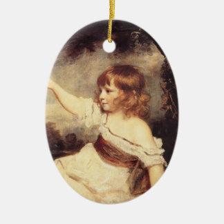 Joshua Reynolds- Master Hare Double-Sided Oval Ceramic Christmas Ornament