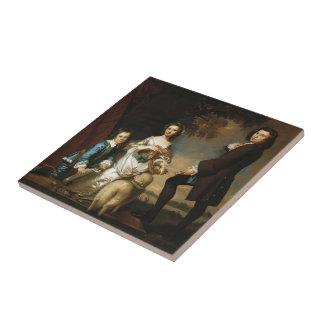 Joshua Reynolds Thomas y Martha Neate, con el prof Teja Cerámica