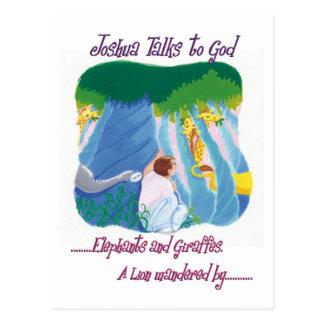 Joshua Talks to God - Elephants and Giraffes Postcard