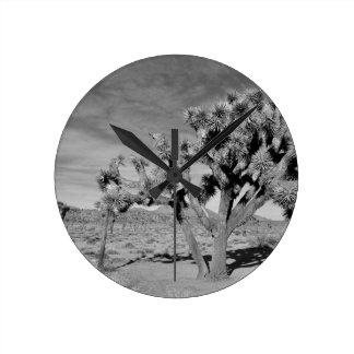 Joshua Tree (black & white) Round Clock