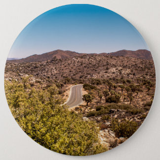 Joshua tree lonely desert road pinback button
