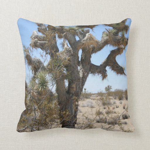 Joshua tree southwestern cactus art throw pillow