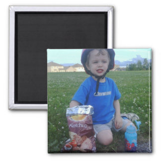 Joshua's Snack Time 2 Inch Square Magnet