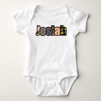 Josiah Baby Boy Orange, Aqua, Denim Name - T Shirt