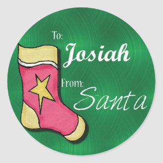 Josiah Personalized Christmas Label78 Classic Round Sticker