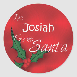Josiah Personalized Holly Label78 Classic Round Sticker