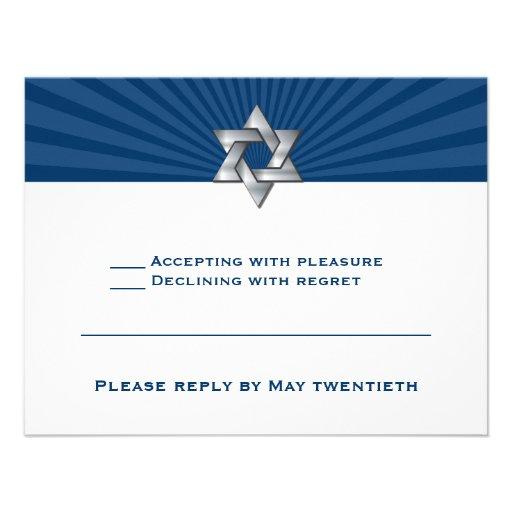 Josiah Silver Jewish Star Bar Mitzvah Invitation