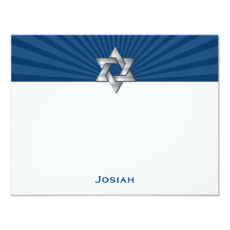 Josiah Silver Jewish Star Bar Mitzvah Thank You Card