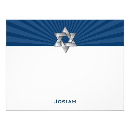 Josiah Silver Jewish Star Bar Mitzvah Thank You Personalized Announcement