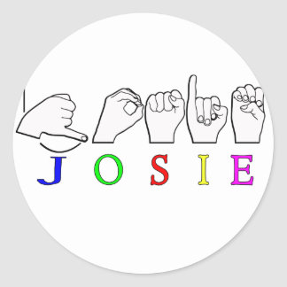 JOSIE  NAME SIGN ASL FINGERSPELLED ROUND STICKERS