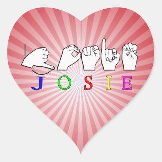 JOSIE  NAME SIGN ASL FINGERSPELLED HEART STICKER