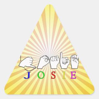 JOSIE  NAME SIGN ASL FINGERSPELLED TRIANGLE STICKER