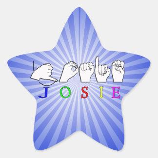 JOSIE  NAME SIGN ASL FINGERSPELLED STAR STICKER