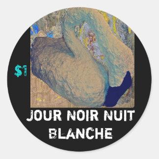 Jour Noir Nuit Blanche Classic Round Sticker