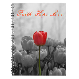 Journal with red tulip
