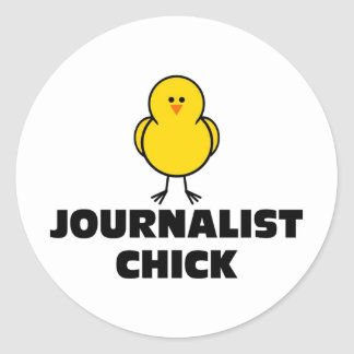 Journalist Chick Classic Round Sticker