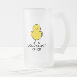 Journalist Chick Frosted Glass Beer Mug