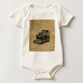 journalist scripts burlap antique typewriter baby bodysuit