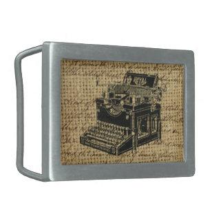 journalist scripts burlap antique typewriter belt buckle