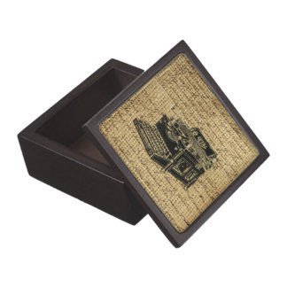 journalist scripts burlap antique typewriter jewelry box
