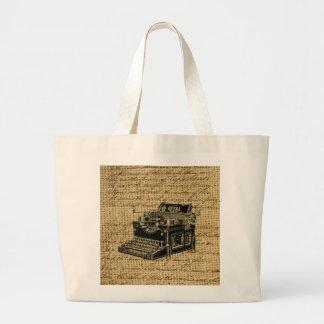 journalist scripts burlap antique typewriter large tote bag