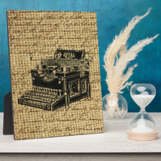 journalist scripts burlap antique typewriter plaque