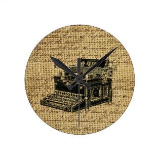 journalist scripts burlap antique typewriter round clock
