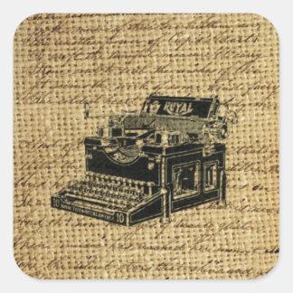 journalist scripts burlap antique typewriter square sticker