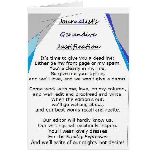 Journalist's Gerundive Justification card
