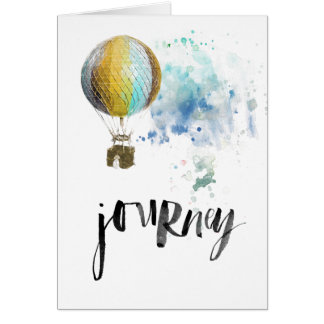 journey hot air balloon colorful ink drawing card