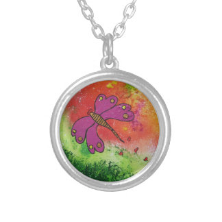 Journey - Magenta Butterfly Round Pendant Necklace