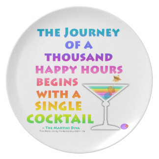 Journey of a Thousand Happy Hours Martini Zen Plat Melamine Plate