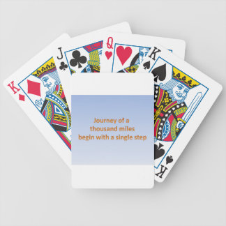 Journey of thousand mile begin with a single step bicycle playing cards