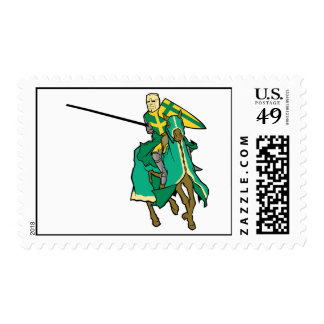 Jousting Green Knight Postage Stamps