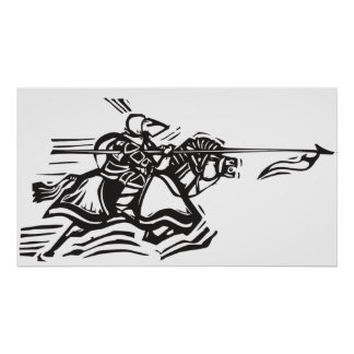 Jousting Knight Left Poster