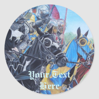 jousting Knights on horses historic realist art Classic Round Sticker