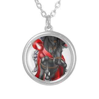 Jousting Medieval Knight on Horse Round Pendant Necklace