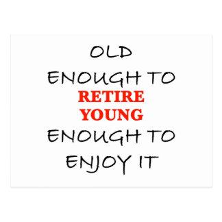 Jóvenes bastante a retirarse postales