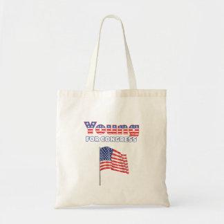 Jóvenes para el diseño patriótico de la bandera am bolsa de mano
