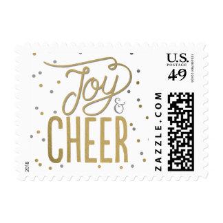Joy and Cheer Editable Color Holiday Postage Stamp