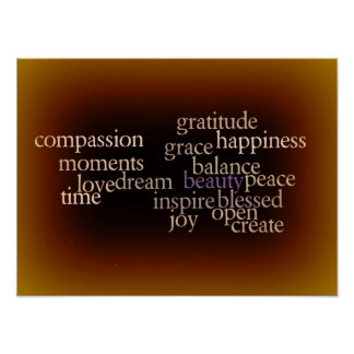 Joy and Gratitude Gold Poster