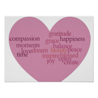 Joy and Gratitude Heart Poster