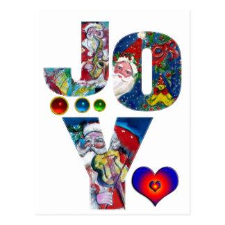 JOY AND LOVE MUSICAL  SANTA XMAS PARTY POSTCARD